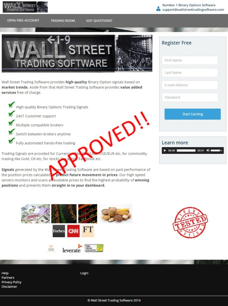 wallstreet trading software front page