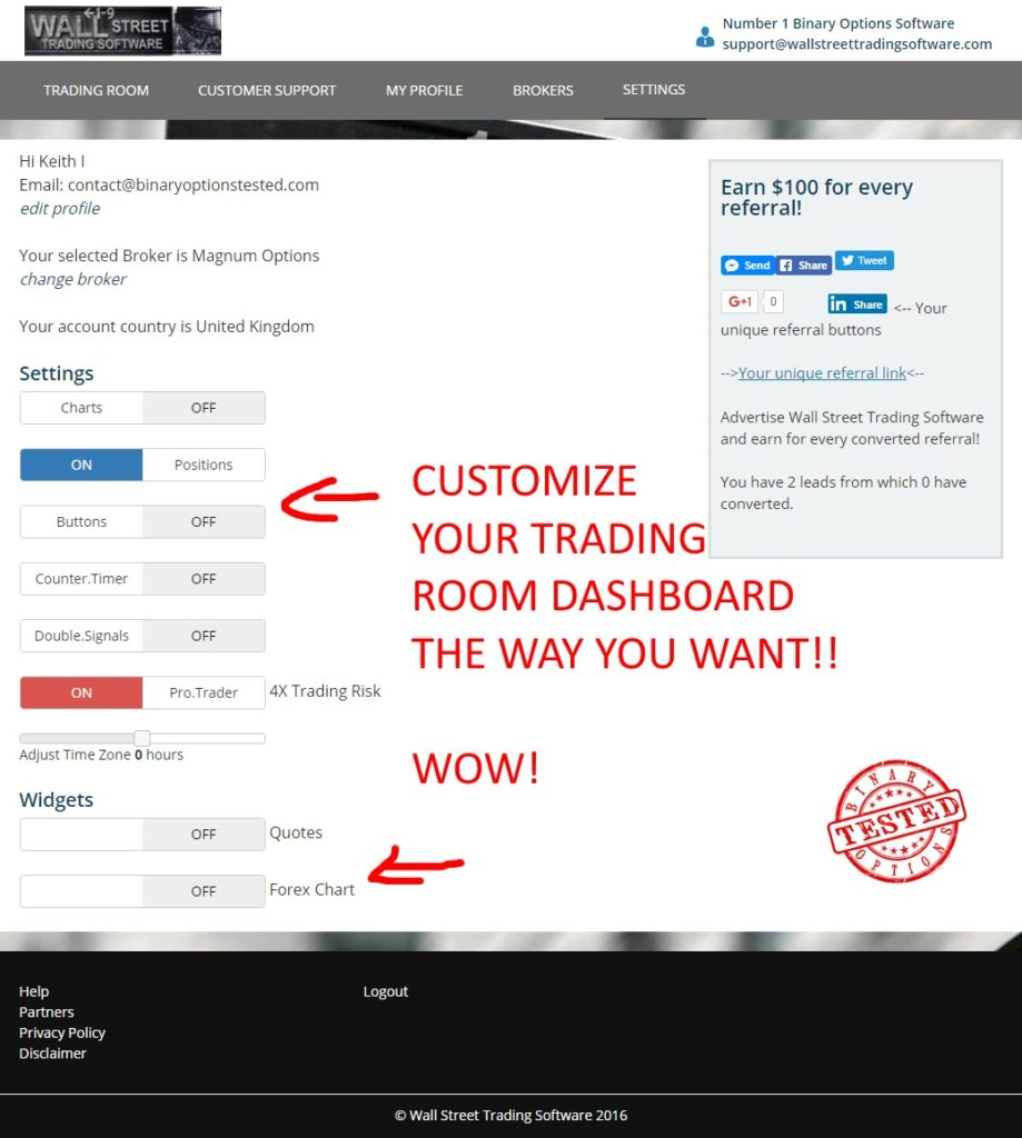 wallstreet trading software settings page