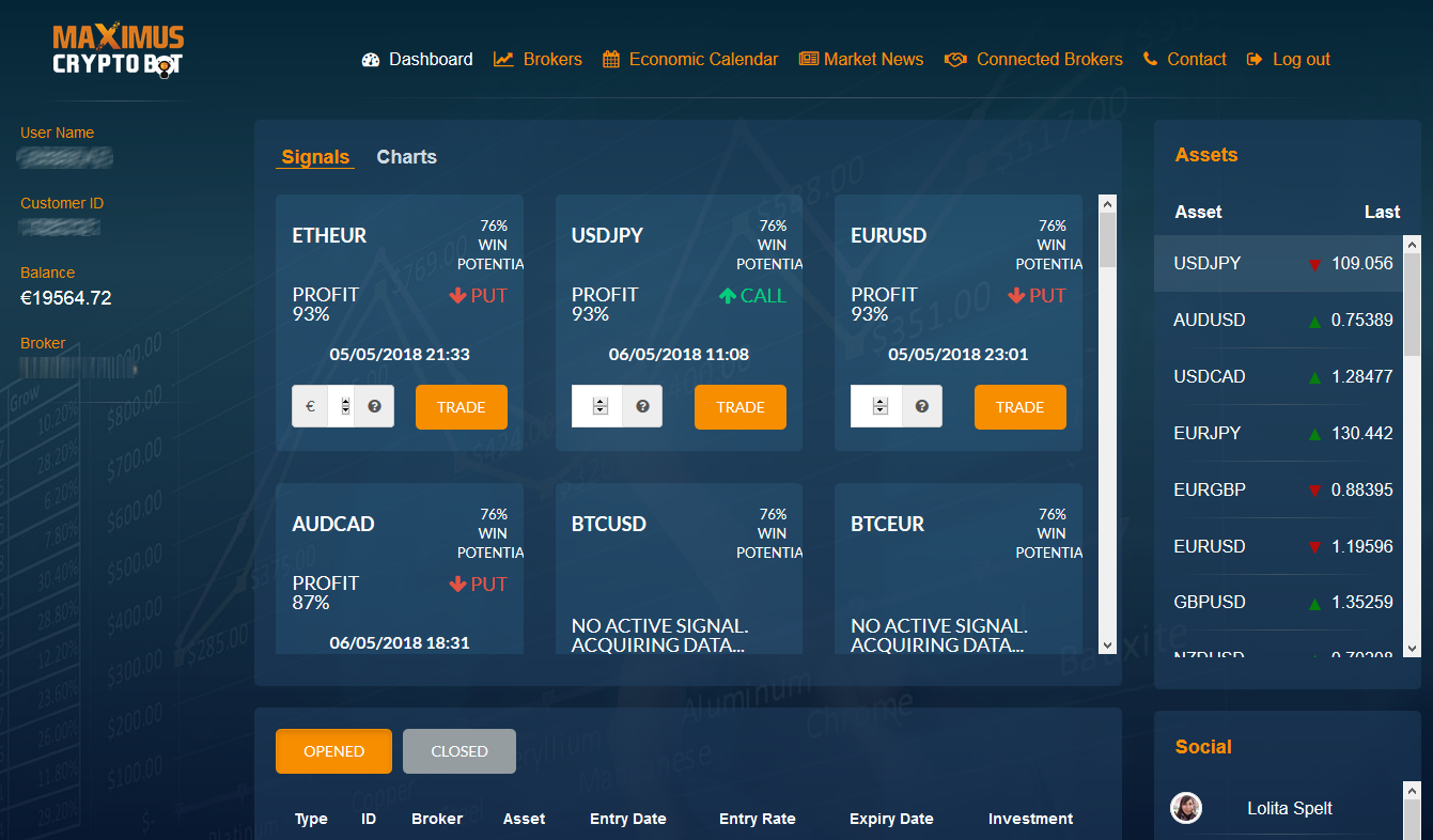 Maximus CryptoBot Login - BO Tested